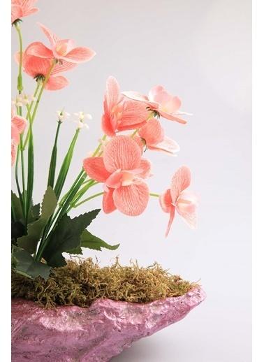 Kibrithane Çiçek Yapay Çiçek Beton Saksı Mini Pembe Kumaş Orkide Kc00200808 Renkli